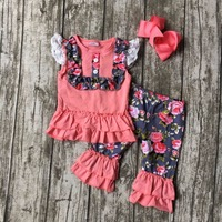 new summer baby girls boutique clothes lace  coral floral capris cotton ruffles outfits  with matching accessories bow set