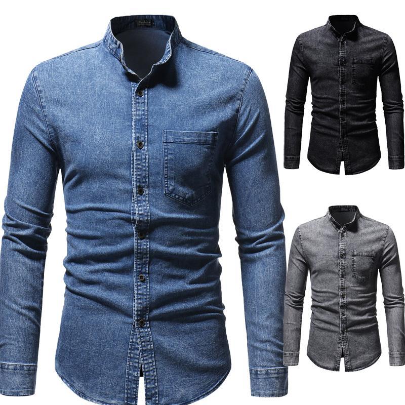 Denim Shirts Mens Long sleeve Jeans Cowboy Blouse Men Stand collar Blue Black Gray