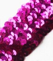 Best sellling 20yard 3 Row Fuchsia Hand Beaded Trim Elastic Stretch Sequin Ribbon Trimming for Dance Dress Belt T7 DIY