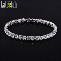Lateefah Solid Color Tennis Bracelet White Gold Filled Cubic Zirconia Glittering Women Fashion Wedding Friendship Bracelet