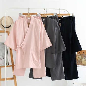 New 100% Cotton Men Japanese Pajamas Sets Simple Kimono Yukata Loose Nightgown Sleepwear Bathrobe Leisure Wear Lover Homewear - DISCOUNT ITEM  14% OFF All Category