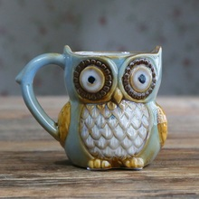 YKPUII Innovative Owl Keramik Becher Kaffee Tee Milch Becher Bier Drinkware Tier Trinkbecher Halloween Weihnachten Geburtstagsgeschenk