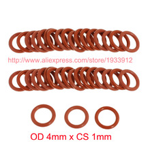OD 4mm x CS 1mm red silicone o ring o-ring oring sealing rubber