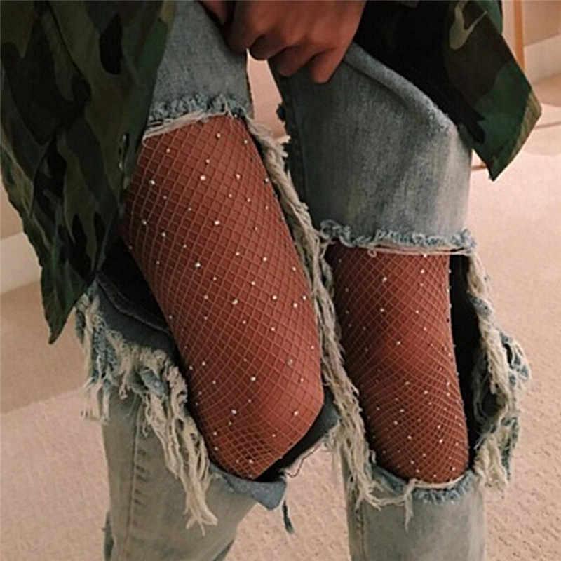 セクシーな女性のダイヤモンド網タイツメッシュパンスト多色ラインストーンナイロン光沢のあるストッキング Collant 靴下魚ネット