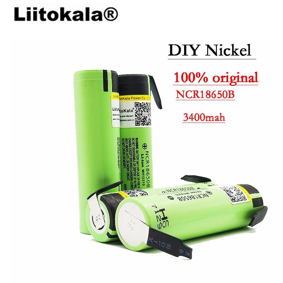 8PCS LiitoKala 100% New Original NCR18650B 3.7v 3400mah 18650 Lithium Rechargeable Battery Welding Nickel Sheet batteries Rechargeable Batteries     - title=