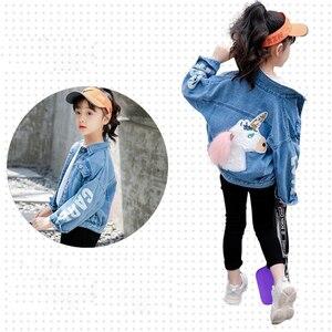 Image 4 - Benemaker kinder Windjacke Einhorn Jeans Jacken Für Mädchen Baby Mäntel Denim Kleidung Stickerei 4 14Y Kinder Oberbekleidung YJ083