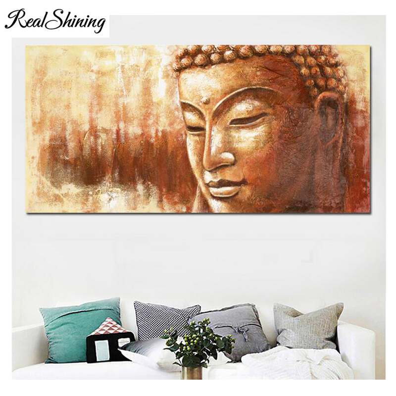 Large Buddha Head Full Square round Drill 5d diy diamond painting cross stitch Diamond Embroidery Mosaic Home Decor FS3823 in Diamond Painting Cross Stitch from Home Garden