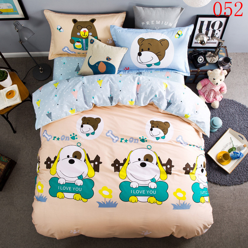 Cotton 4Pcs Bedding Set Full Queen Bedroom Bedclothes Sets Duvet Cover Quilt Cover Pillowcases Flat Bed Sheets Bed Linens Dog