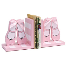 Home Decoration Brand KIDS Shoes Design Bookends Book Ends Shelf Holder Wood Book Stand Gift for Girls