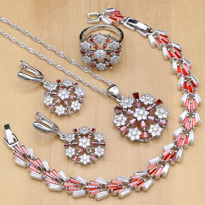 Hart Arbeitend Blume Geformt 925 Silber Schmuck Sets Rote Cz Weißen Kristall Perlen Für Frauen Hochzeit Ohrringe/anhänger/halskette/ringe/armband Schmuck & Zubehör