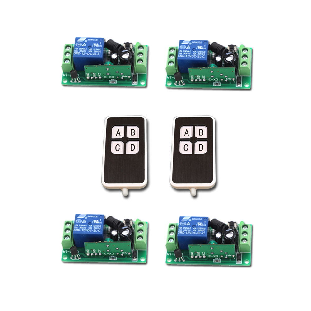 New Arrival RF Wireless Remote Control Switch System DC9V12V24V 1CH 2pcs Transmitter & 4pcs Receiver Learning Code 315/433MHZ