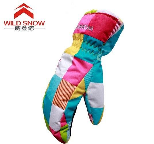 Childrens pink color blocks fingerless ski gloves kids riding skiing gloves waterproof thermal winter outdoor sports gloves