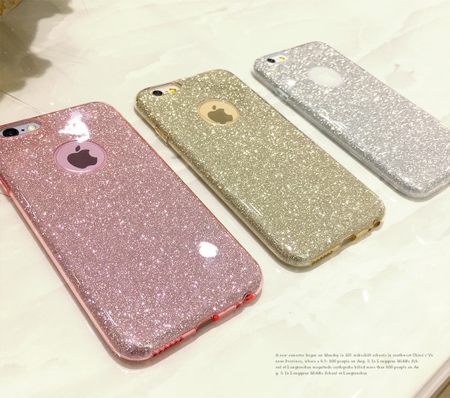sports shoes 22740 bb3de US $1.57 |Glitter Bling Cute For iPhone X 7 8 4 4S 5 5S SE 6 6S Plus Case  Ultra Thin Glitter Bling Candy Cover Crystal Soft Gel TPU Phone-in Fitted  ...