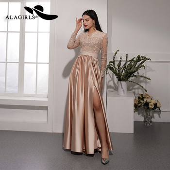 Alagirls New Arrival Prom Dress 2020 Silk Satin Party Dress A line Evening Dress with Appliques and Beading Formal Woman Dress