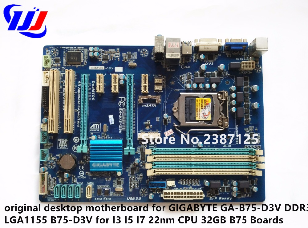 купить original desktop motherboard for GIGABYTE GA-B75-D3V DDR3 LGA1155 B75-D3V for I3 I5 I7 22nm CPU 32GB B75 Boards дешево