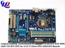 original desktop motherboard for GIGABYTE GA-B75-D3V DDR3 LGA1155 B75-D3V for I3 I5 I7 22nm CPU 32GB B75 Boards