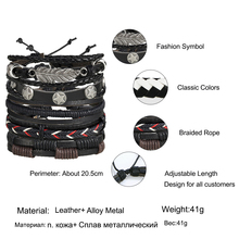 Vintage Leaf Feather Multilayer Leather Bracelet Men Fashion Braided Handmade Star Rope Wrap Bracelets