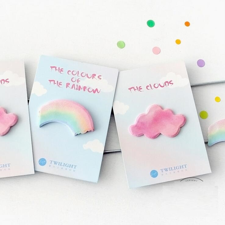 1pack/lot Cute Stationery Sweet Rainbow Clouds Shape Memo Pad Paper Sticker Kawaii Macaron Style Sticky Notes Message Post Note