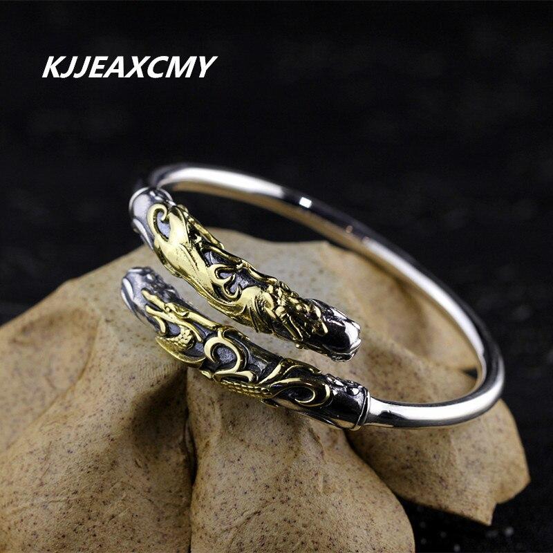 KJJEAXCMY S925 unisexe bijoux en argent sterling Bracelet en argent dragon doré