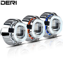 3 inch Square HID Bi xenon Projector Lens Headlight with CCFL White Red Blue Double Angel Eye Styling H1 H4 H7 6000K Hi/Lo Beam