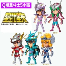 2015 Hot ! NEW 10cm 5pcs/set Q version Saint Seiya jabu shun hyoga Shiryu PVC Action Figure toys new arrival s temple metal club sagittarius aiolos saint seiya metal armor myth cloth gold ex action figure tv or oce edition