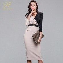 2197b23d928 H Хан queen новый корейский контраст цвет лоскутное платье карандаша для  женщин 2019 весна Бизнес Платья