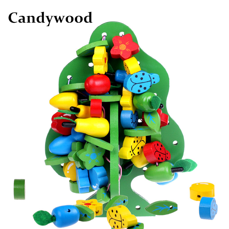 Candywood Montessori Baby Kids Toys Wooden Colorful Fruit Beads Strings Trees Block Colorful Multifunction Tree Educational Toys tcb remote control aircraft model aircraft lithium battery lion 11 1v 3500mah 25c 3s1p model aircraft battery