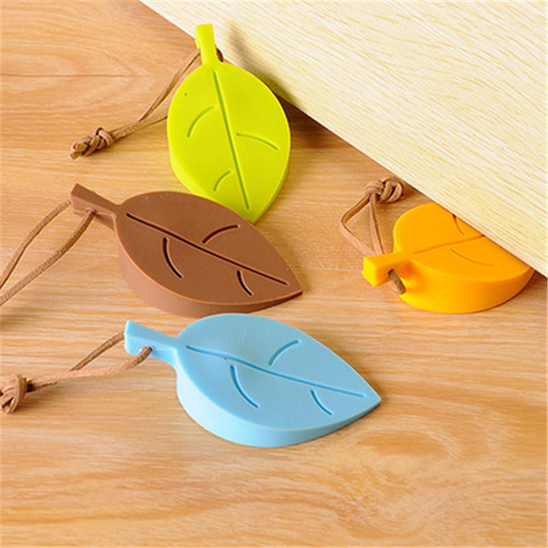 Child Cute Cartoon Leaf Style Wedge Door Card Silicone Door Stopper Baby 4 Colors Rubber  Home Decor Finger Safety Protection