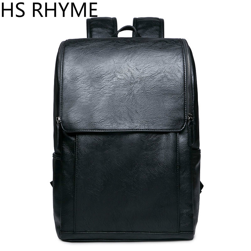 HS RHYME Korean Man PU Leather Backpack Male New Style Junior Middle School Students' Leisure Travel Backpack Bag 2017 new korean man pu leather backpack male new style junior middle school students leisure travel backpack fashion bag