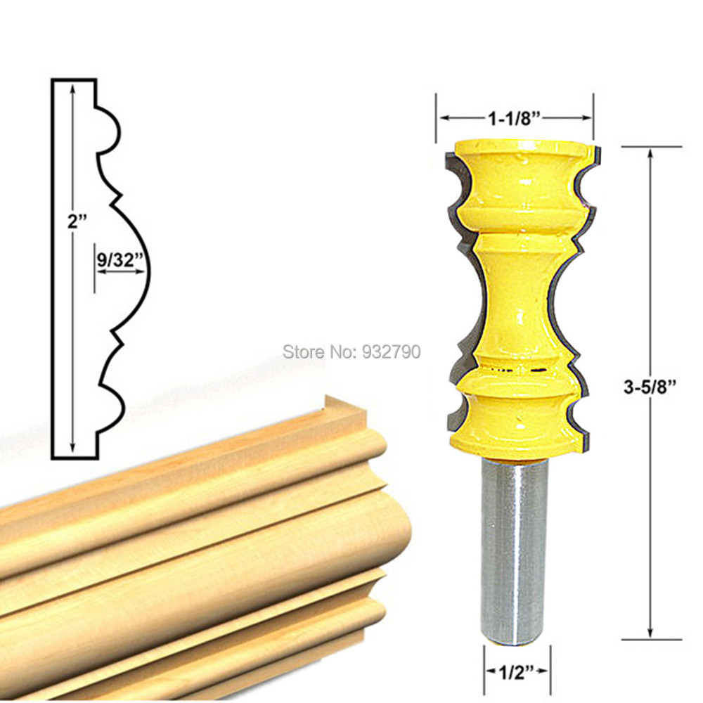 "Large Elaborate Chair Rail Molding Router Bit 1/2"" Shank"