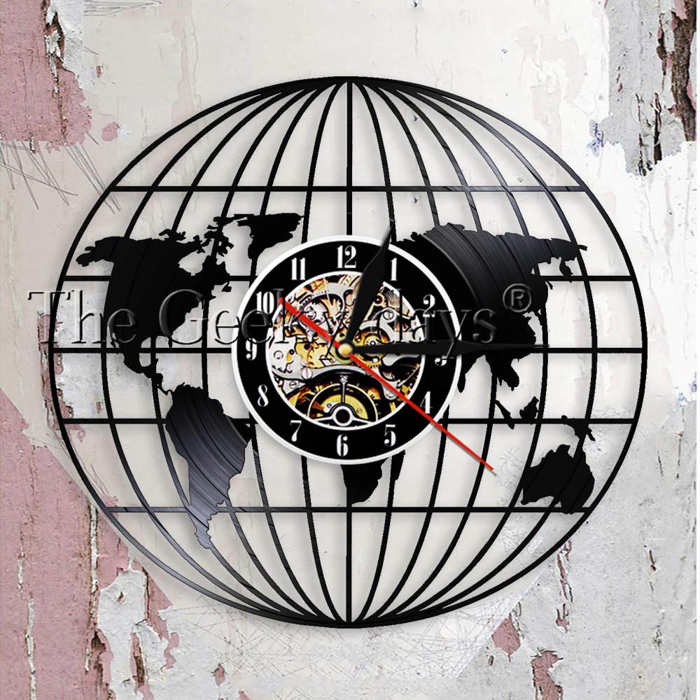 World Map Globe Trip Adventure Awaits Travel Vinyl Wall Clock Gift for Friend