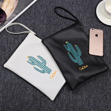 JULY'S SONG New Arrival Cactus Printing Clutch High-quality Wristlets Female Storage Bag Women Clutch Bag(China)