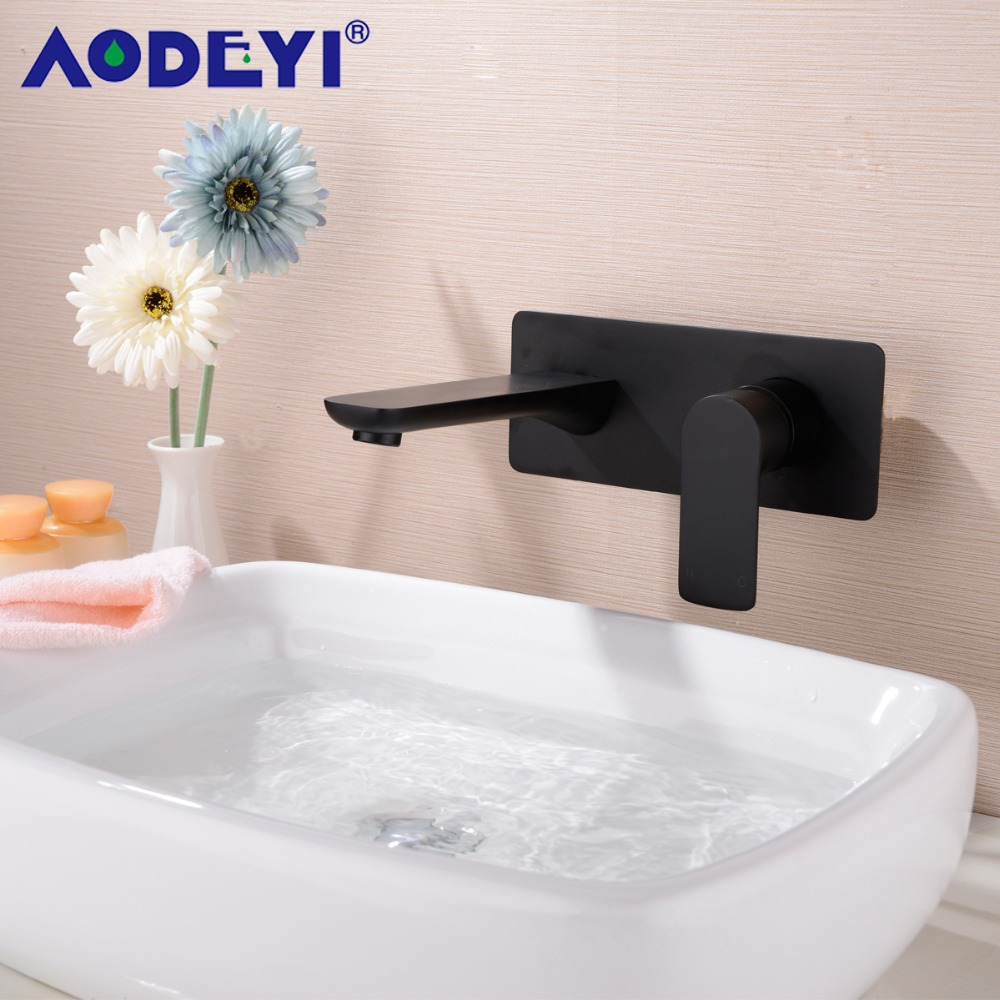 AODEYI Brass Wall Mounted Bathroom Basin Mixer Sink Faucet Black Chrome Water Tap 12 051