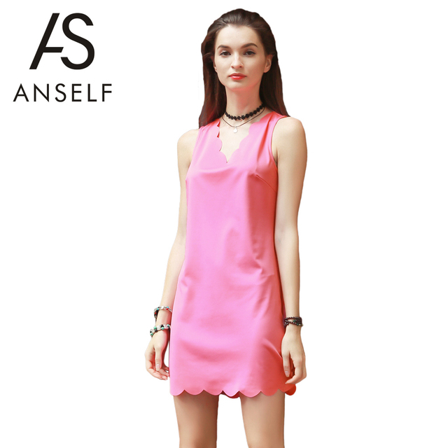Anself Summer Women Tank Dress V Neck Sleeveless Beach Party Dresses ...