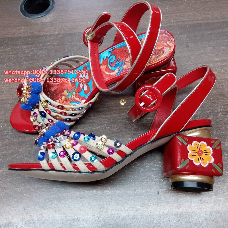 Multicolor Design Chunky Heels Women Rhinestone Fur Sandals Ball Pom Poms Rome Style High Heels Shoes Wedding Party Dress Shoes new 2015 sophia layla metallic leather pom pom sandals women sandals wedding shoes