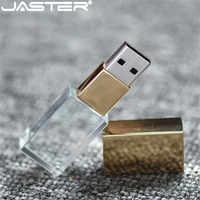 JASTER Crystal usb 2.0 sticks 3D print custom logo 4GB 16GB flash pendrive 32GB 64GB transparent glass (over 10 pcs free logo)