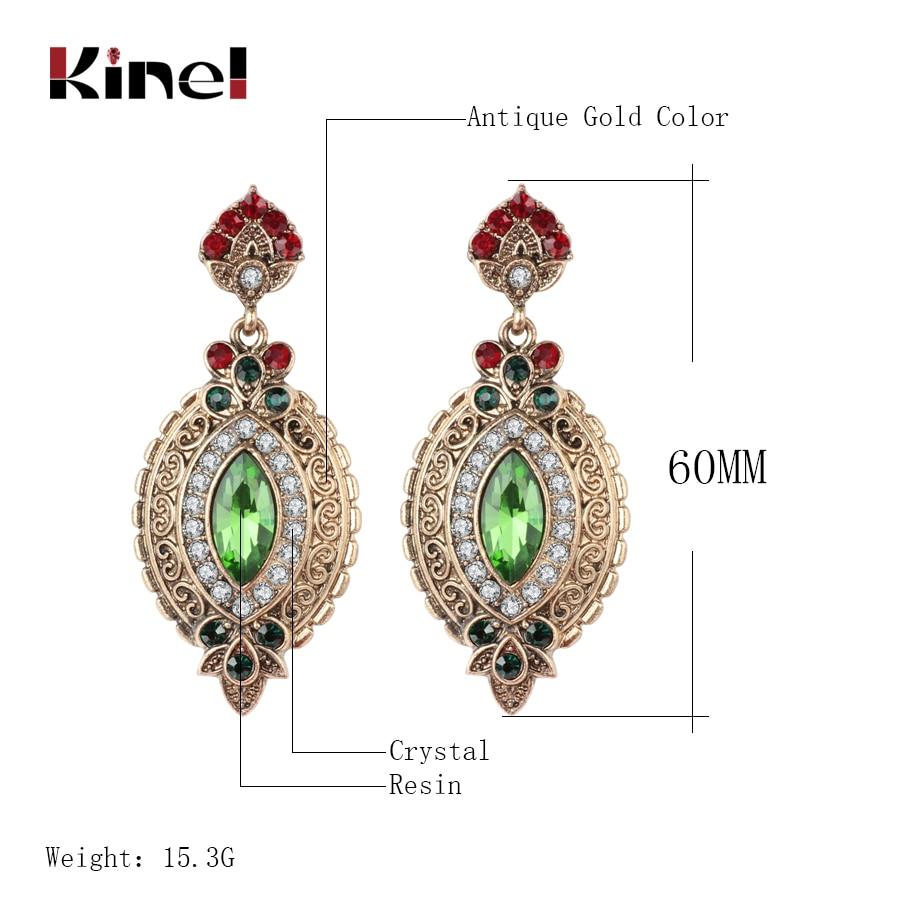 Kinel Heißer Vintage Gold Farbe Raute Ohrringe Für Frau Grün Strass Lange Baumeln Ohrringe Punk Mode-accessoires 2018 Neue