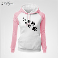 Mhysa 2018 NEW Sweatshirt For Women Cartoon Hoodies Cats And Dogs Lovers With Pocket Leisure Jerseys