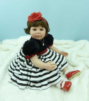 22 Inch Silicone Vinyl Reborn Baby Doll Toys Children Birthday Gift Collectible Toddler Lifelike Newborn Baby Doll Princess Doll