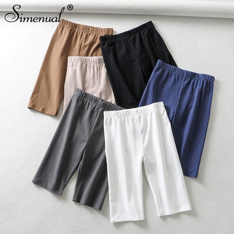 Simenual High Waist Women Biker Shorts Solid Fitness Athleisure Short Pants 2019 Casual Slim Cycling Shorts Summer Spring Sale