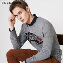 Мужской Хлопковый пуловер с мультяшным принтом, S