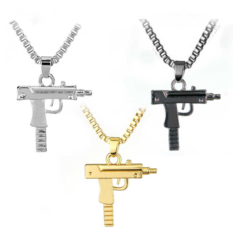 2019 New Titanium Steel Pistol Men's Hip Hop Gold Black Silver Chain Necklace Pendant Men And Women Gift Jewelry