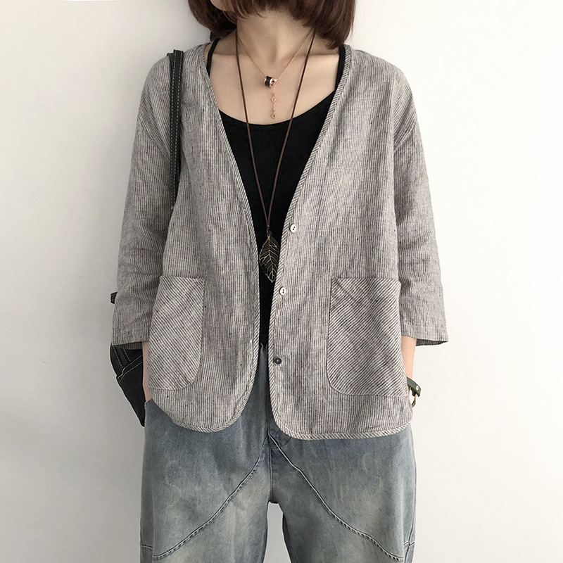 2019 Summer Lady Thin Blazer Loose Cotton Linen Female Casual Work Office Ladies Blazer Pinstripe 7-point Sleeve Small Suit