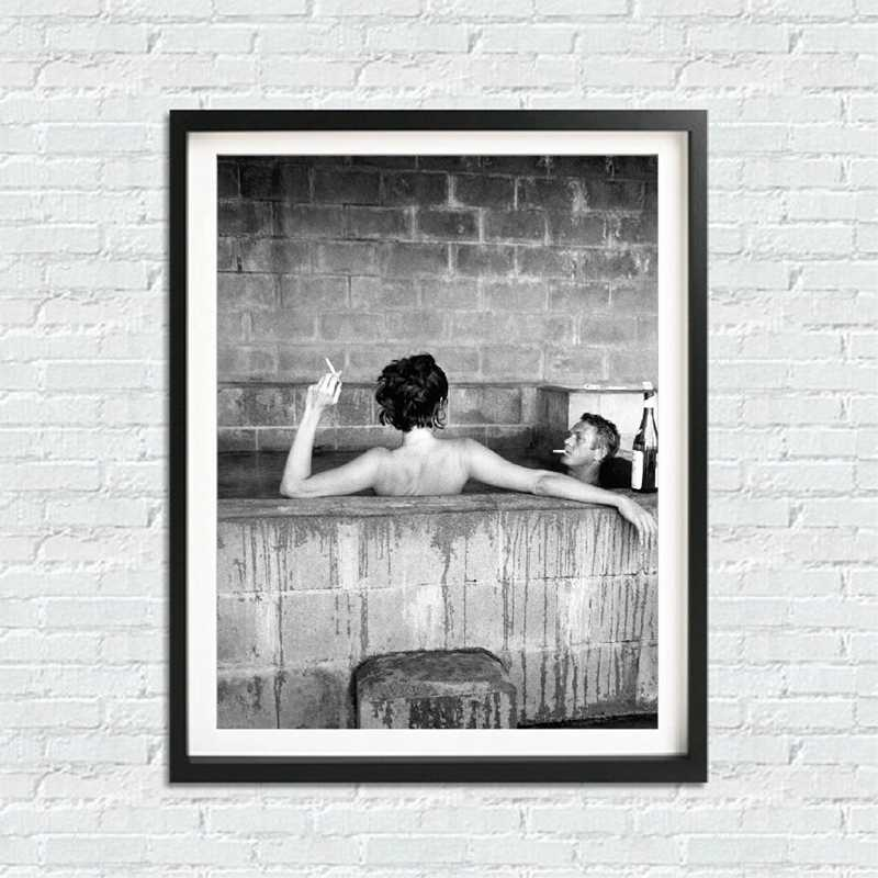 Steve McQueen Poster Canvas Painting , Steve McQueen Bath With His Wife Mens Fashion Print Black White Photo Home Wall Art Decor