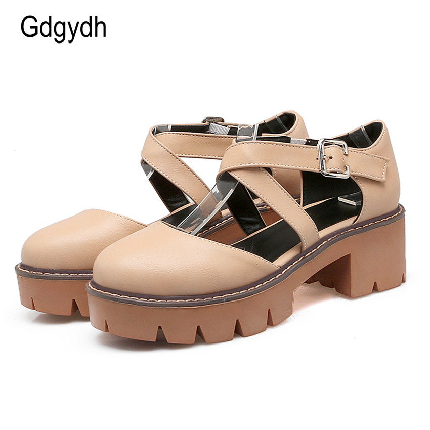 Gdgydh 2017 New Summer Women Sandals Square Heel Round Toe Cut-outs Sweet Gladiator Ladies Shoes Platform Plus Size 43 new fashion summer shoes women shoes peep toe patent leather med heel women sandals cut outs gladiator small big size 32 44 0372