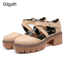 Gdgydh 2020 New Summer Women Sandals Chunky Heel Round Toe Cut-outs Sweet