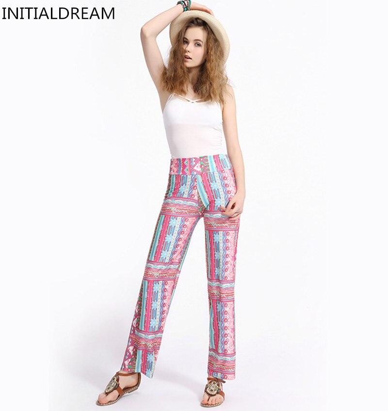 Jaunas modes sieviešu taisnas bikses pavasara un vasaras ikdienas elastīgās augstās vidukļa drukāšanas bikses vaļīgi plus lieluma sievietes bikses HYK-76