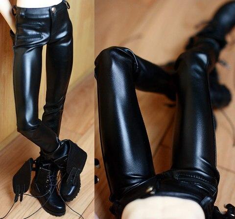calcas apertadas calcas de couro sintetico roupas bjd preto para o sexo masculino 1 3
