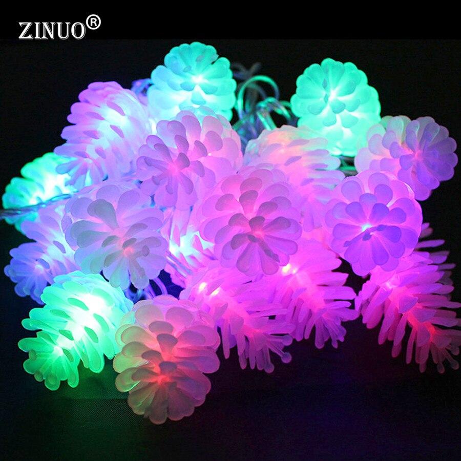 ZINUO Pomme De Pin Guirlandes 5 M 20 Led Chaîne Lumière Flash Modes Fée Guirlande LED Lumières De Noël Echinacea Pour Vacances De Mariage partie