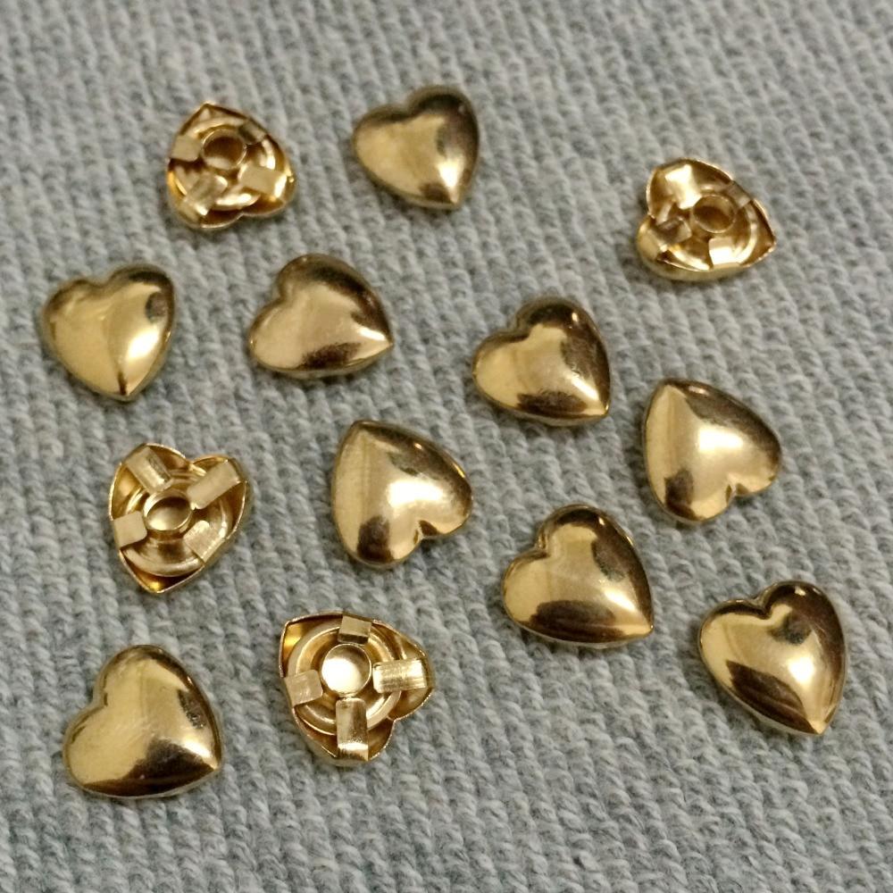 100 шт. 10 мм золоті сердечки шпильками панк шип шпильки плями мода заклепки DIY сумки ремінь взуття гаманець ремесло підходить для DIY доставка безкоштовно